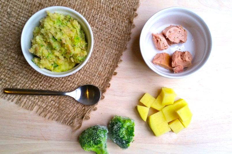 Baby food tuna broccoli potato mash 6 months paleo britain