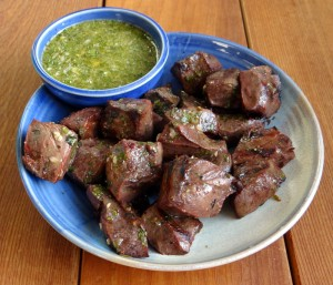 Beef Heart with Chimichurri Sauce