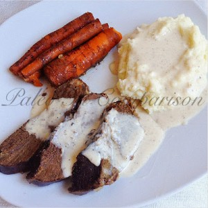 Crock Pot Beef Heart with Cauli Mash and Paleo Gravy