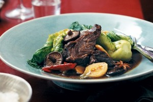 Mandarin and ginger braised beef cheeks