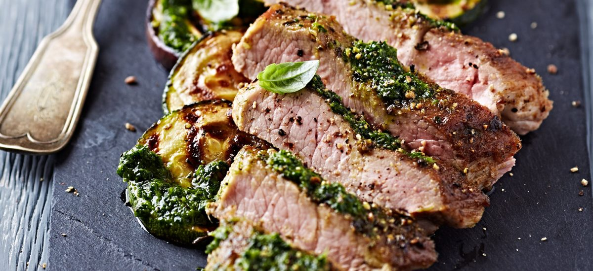 Pork with Courgettes & Salsa Verde