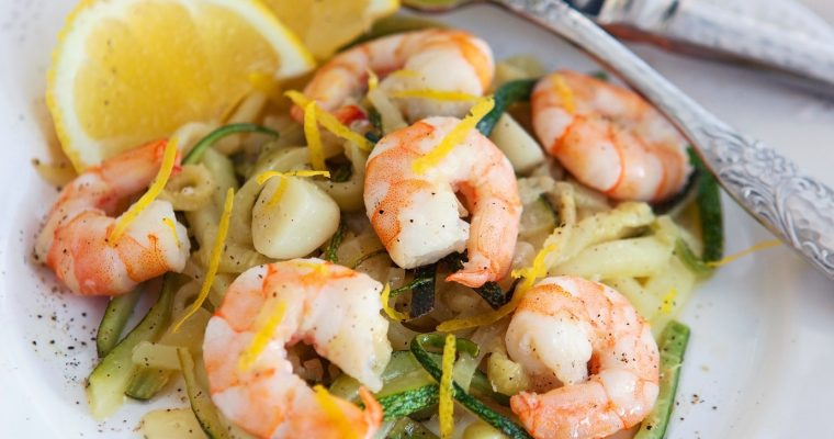 Prawns & Courgettes with Chilli, Garlic, Parsley & Lemon