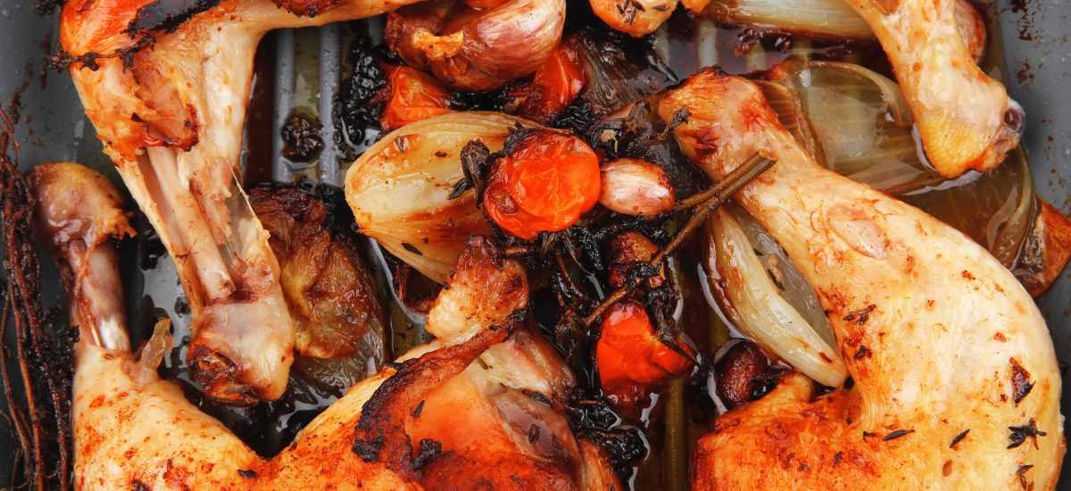 Chicken Legs or Thighs Baked with Tomatoes & Herbs