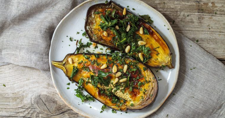 Grilled Aubergines with  Kale & Pine Nuts