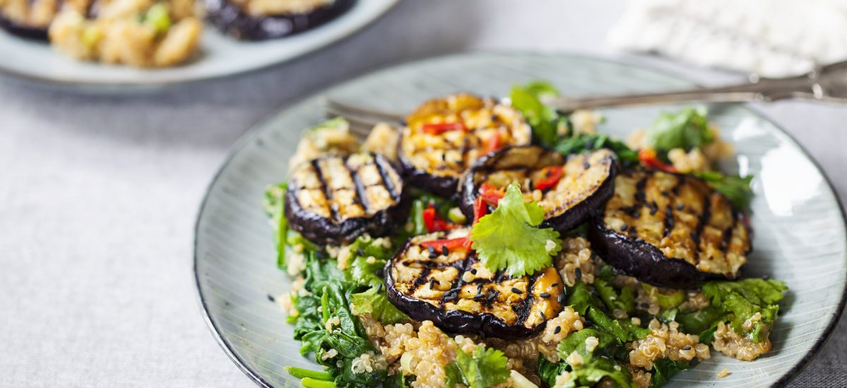 Quinoa With Spinach & Grilled Aubergines