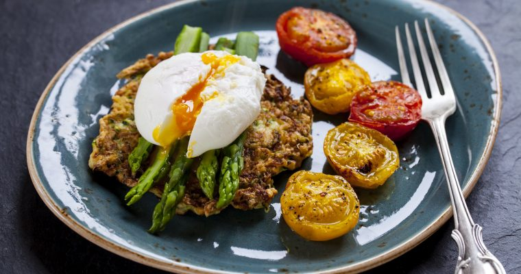 Eggs with Asparagus, Tomatoes & Courgette Pancakes
